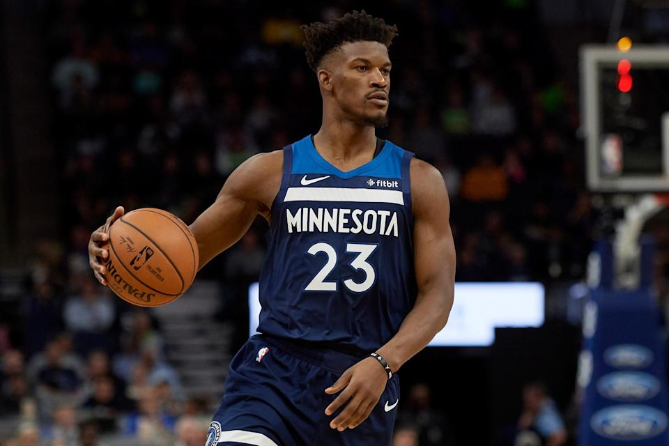 Jimmy Butler had a game-high 32 points for the Timberwolves, shooting 6-7 from three-point range.. (Photo by Hannah Foslien/Getty Images)