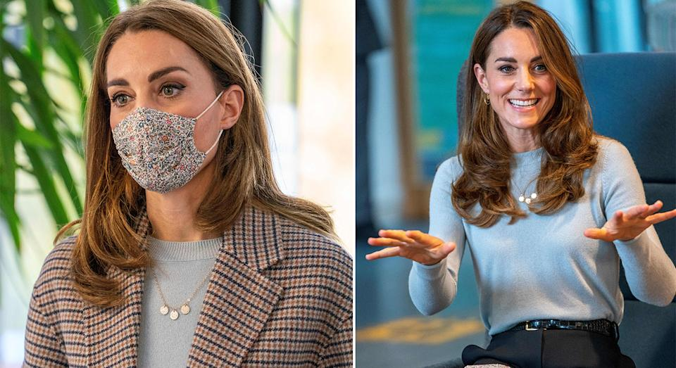 The Duchess of Cambridge visits students at the University of Derby to discuss the impact of the coronavirus pandemic on their mental health and education.  (Getty Images)