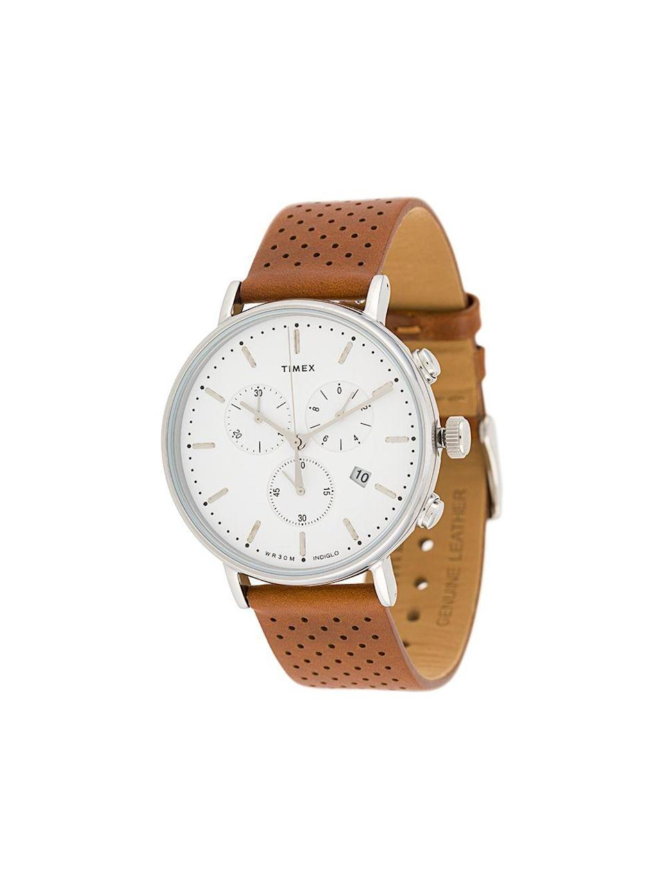"""<p><strong>TIMEX</strong></p><p>farfetch.com</p><p><strong>$110.00</strong></p><p><a href=""""https://go.redirectingat.com?id=74968X1596630&url=https%3A%2F%2Fwww.farfetch.com%2Fshopping%2Fmen%2Ftimex-fairfield-chronograph-41mm-watch-item-14378793.aspx&sref=https%3A%2F%2Fwww.cosmopolitan.com%2Fstyle-beauty%2Ffashion%2Fg32619153%2Fgifts-for-man-who-has-everything%2F"""" rel=""""nofollow noopener"""" target=""""_blank"""" data-ylk=""""slk:Shop Now"""" class=""""link rapid-noclick-resp"""">Shop Now</a></p><p>Watches don't always have to be insanely expensive. This classic timepiece with a leather strap is a nice option if you don't want to spend major $$$ on one.</p>"""