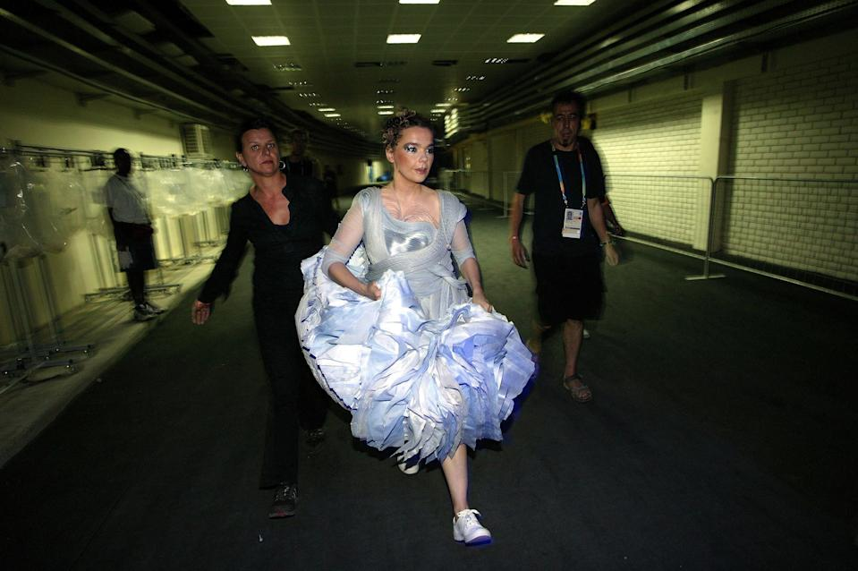 GREECE - AUGUST 13:  Photo of BJORK; Bjork backstage at the opening of the 2004 Athens Olympics  (Photo by Mick Hutson/Redferns)