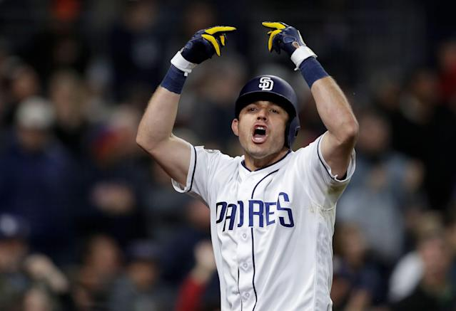 Padres veteran Ian Kinsler did not use the kindest language in front of home fans on Thursday. (AP Photo/Gregory Bull)