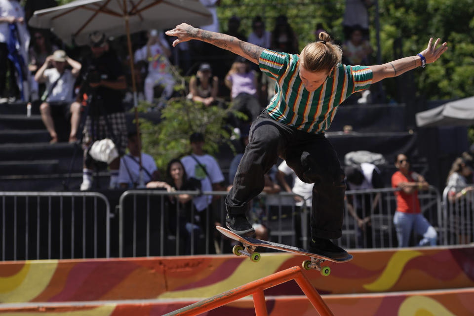 FILE - In this Nov. 16, 2019, file photo, Candy Jacobs, of the Netherlands, competes in the Skate Street World Championship in Rio de Janeiro, Brazil. Quarantined Olympic skateboarder Jacobs says she's had to take action to be allowed to get fresh air in an isolation hotel in Japan. The Dutch athlete was removed from the Olympic Village after testing positive for COVID-19. (AP Photo/Leo Correa, File)