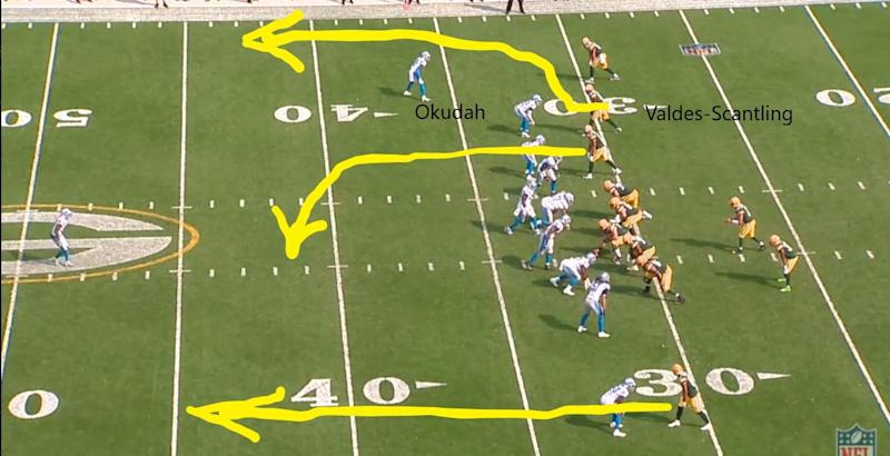 A pre-snap look at a play from the Lions' loss to the Packers on Sunday, Sept. 20, 2020, at Lambeau Field.