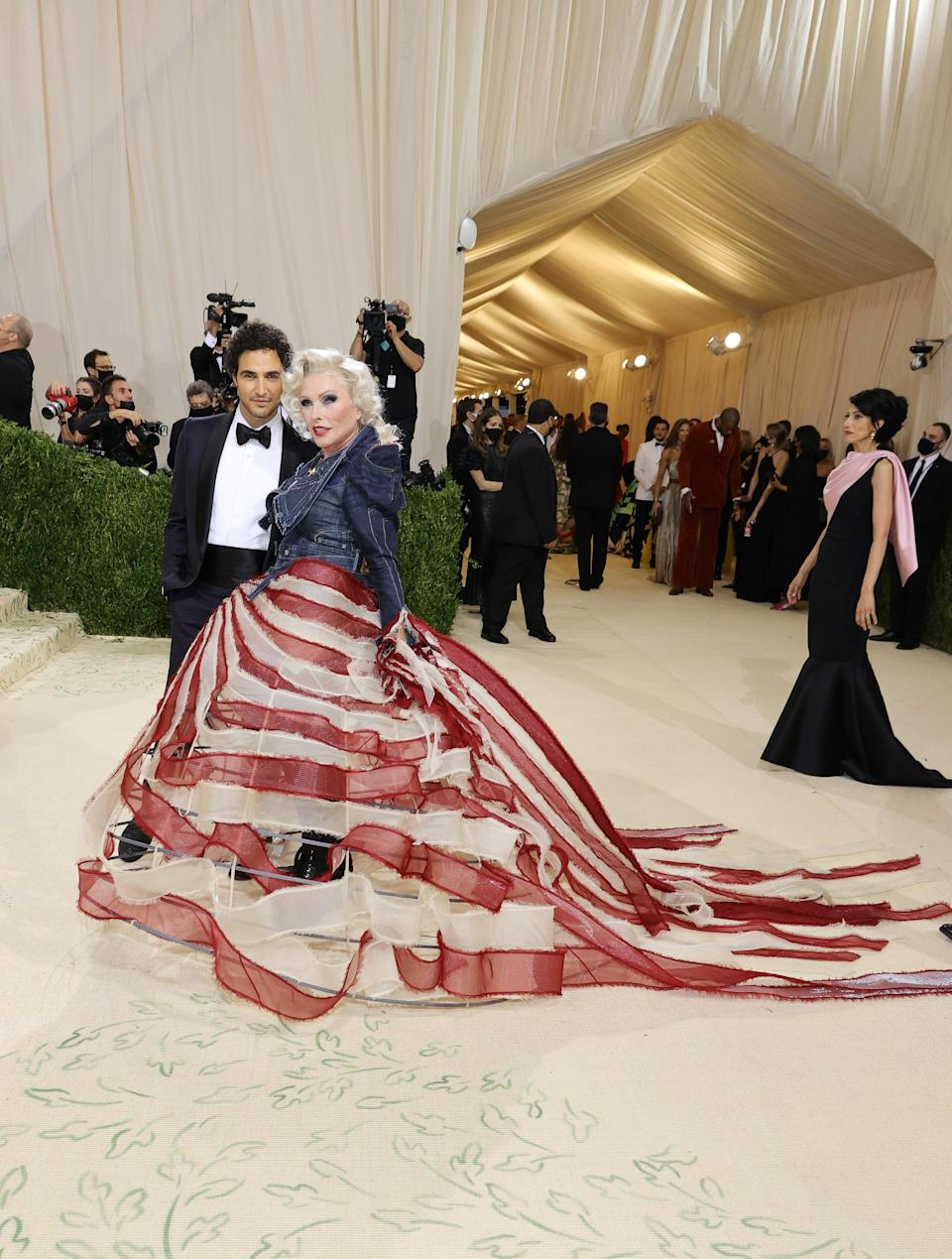 """<h2>Debbie Harry wearing Zac Posen</h2><br>All-American blue jeans — but make it Met Gala-appropriate. <span class=""""copyright"""">Photo by Mike Coppola/Getty Images.</span>"""