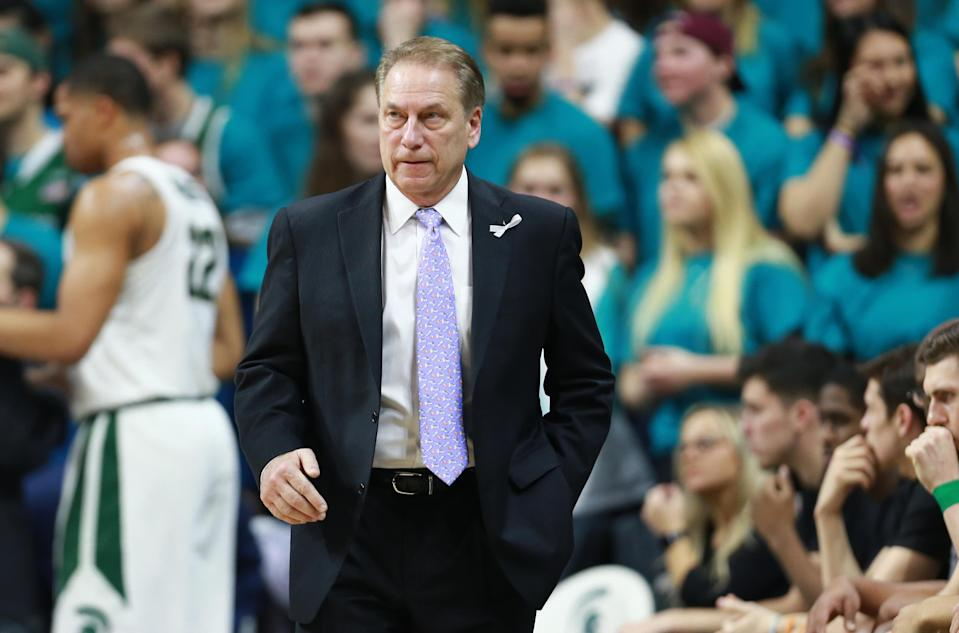 Michigan State coach Tom Izzo reacted after Friday's game to criticism of how he has handled allegations of sexual assault against his players. (Getty)