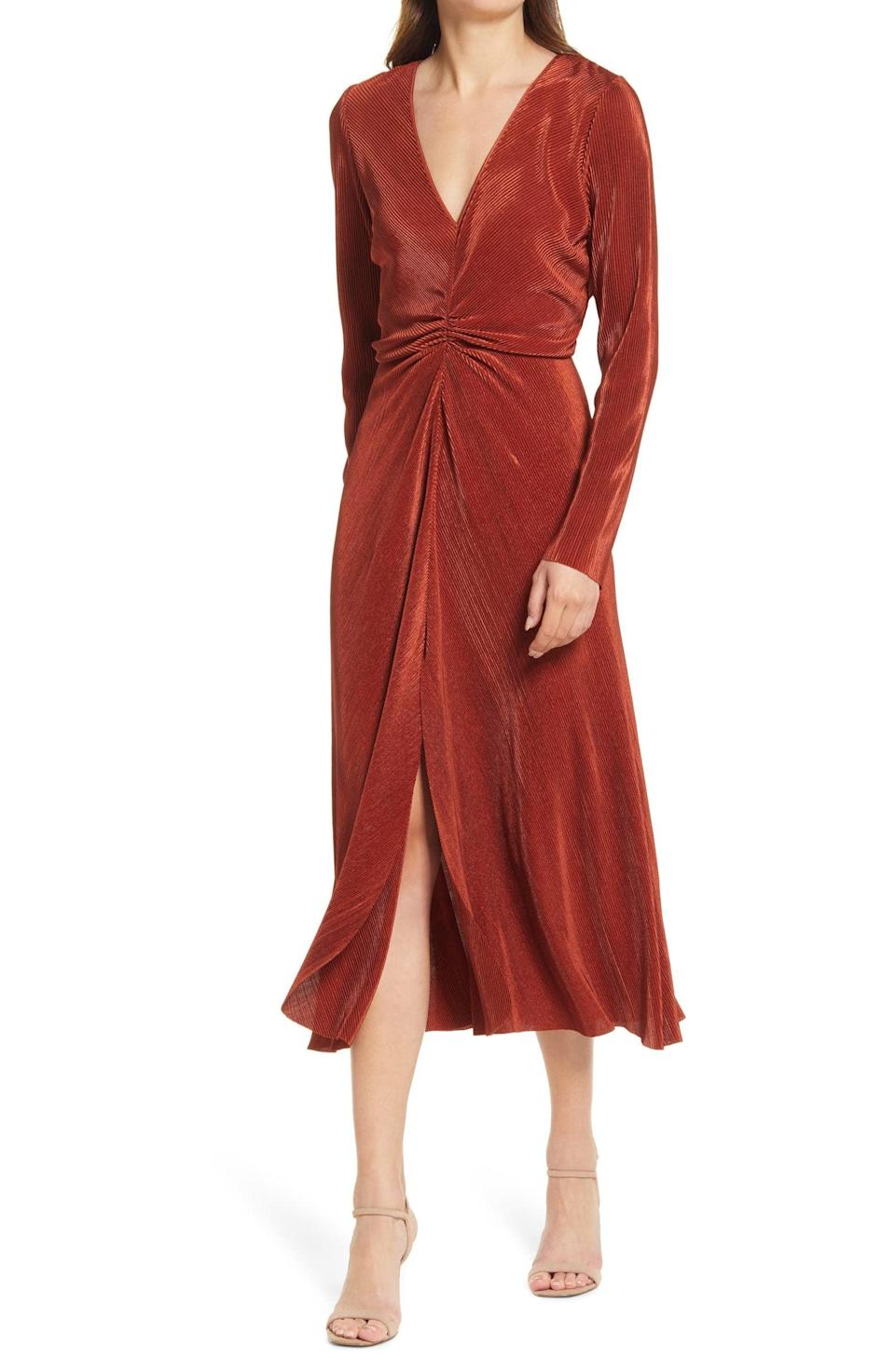 <p>This chic <span>Charles Henry Gathered Long Sleeve A-Line Dress</span> ($79) is a lovely choice for any events or dinners you have coming up. The rust hue is universally flattering on all skin tones.</p>