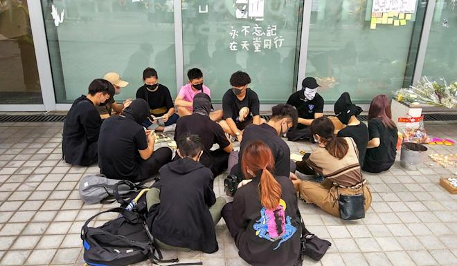 Students at vocational college Hong Kong Design Institute organised a sit in protest to demand for the release of CCTV footage relating to death of a fellow student. Photo: Linda Lew