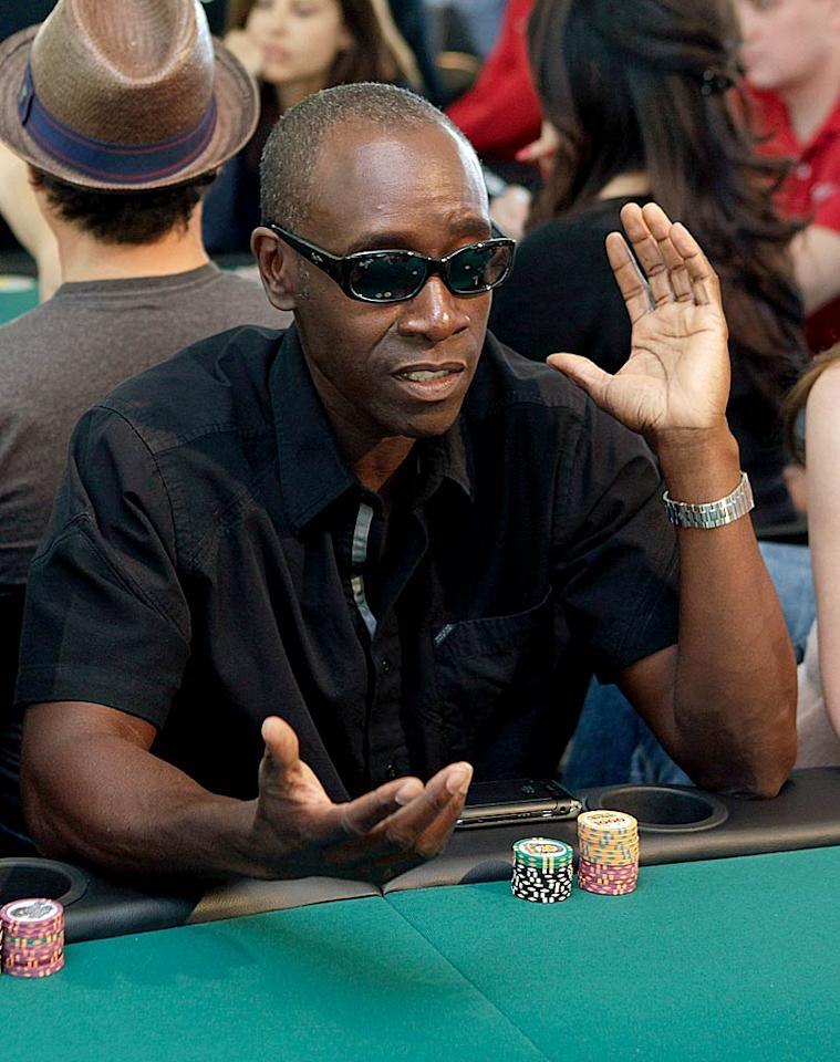 "Don Cheadle kept his shades on in order to keep his opponents guessing. Tropicana Las Vegas sponsored the event, which took place at a private residence. That must be some house! Todd Williamson/<a href=""http://www.wireimage.com"" target=""new"">WireImage.com</a> - May 21, 2011"
