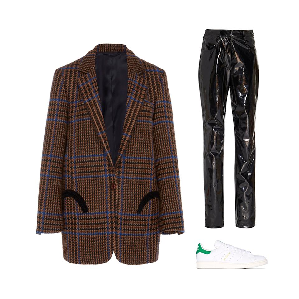 "<p>Stay stylish on the go with your favorite vinyl pants and classic sneakers.</p> <p><strong>Buy now:</strong> Blazé Milano blazer,  $1,840, <a>modaoperandi.com</a>​. Tibi pants, $495, <a>modaoperandi.com</a>​. Adidas sneakers, $87, <a href=""https://www.farfetch.com/shopping/women/adidas-stan-smith-low-top-sneakers-it%20em-13820663.aspx?storeid=9359"">farfetch.com</a>​.</p>"