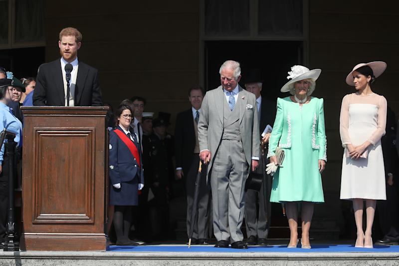 Prince Harry, Prince Charles, the Duchess of Cornwall and the Duchess of Sussex at Charles' 70th birthday patronage celebration at Buckingham Palace on May 22 in London. Charles' birthday is Nov. 14. (Chris Jackson via Getty Images)