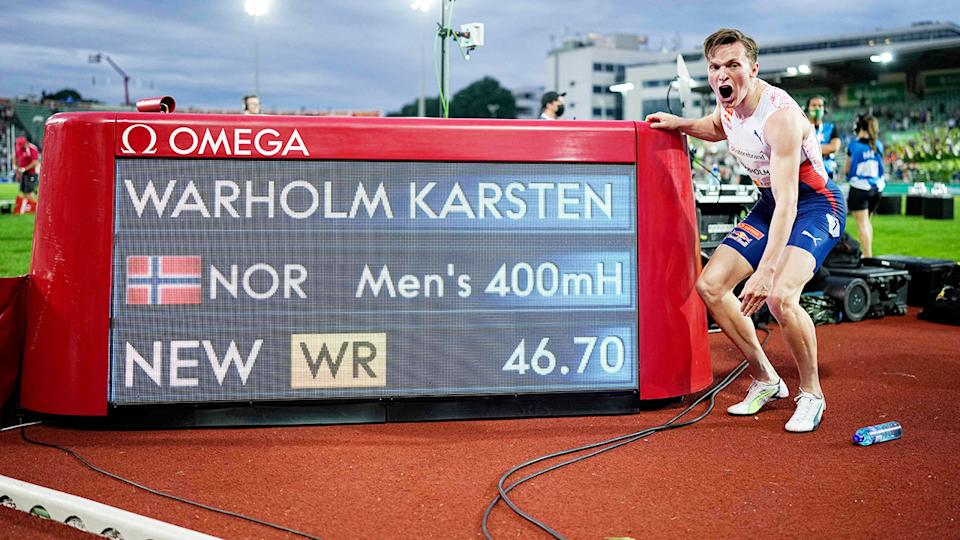 Karsten Warholm, pictured here after breaking the 400m hurdles world record.