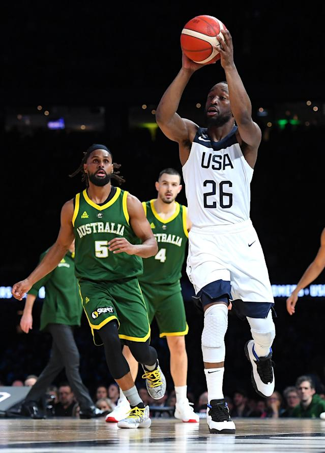 MELBOURNE, AUSTRALIA - AUGUST 22: Kemba Walker of the USA shoots during the International Basketball Friendly match between the Australian Boomers and Team USA United States of America at Marvel Stadium on August 22, 2019 in Melbourne, Australia. (Photo by Quinn Rooney/Getty Images)