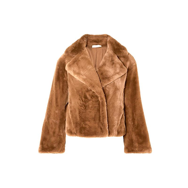 Cozy up in this plush brown faux, courtesy of Vince. Cropped with extra long sleeves, pair with a wool sweater and dark wash straight-leg jeans. Buy now: Vince jacket $297, vince.com.