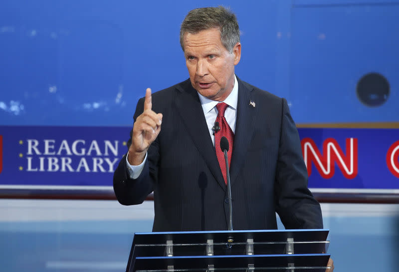 Republican U.S. presidential candidate and Ohio Governor John Kasich makes a point during the second official Republican presidential candidates debate of the 2016 U.S. presidential campaign at the Ronald Reagan Presidential Library in Simi Valley, California, United States, September 16, 2015. REUTERS/Lucy Nicholson