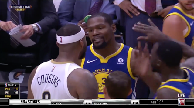 "<p>Kevin Durant and DeMarcus Cousins were tossed from Monday night's Warriors-Pelicans game after getting two technical fouls and their dispute continued backstage following the game. </p><p>Durant and Cousins had been barking back and forth all game long but tensions boiled over as they jawed with each other late in the fourth quarter and were quickly ejected. </p><p>Tempers were apparently still running high after the game was over, as the two players reportedly had to be separated when they rekindled the dispute near the locker rooms. </p><p>This is the second time in three days that Durant has been ejected. He was <a href=""http://www.mercurynews.com/2017/12/01/kevin-durant-on-ejection-the-refs-run-the-game/"" rel=""nofollow noopener"" target=""_blank"" data-ylk=""slk:tossed from Friday's win over the Magic"" class=""link rapid-noclick-resp"">tossed from Friday's win over the Magic</a> for arguing a call. Monday also marks the third consecutive game in which a Warriors player has been ejected, after Shaun Livingston <a href=""http://www.nba.com/article/2017/12/03/golden-state-warriors-guard-shaun-livington-ejected-after-making-contact-ref"" rel=""nofollow noopener"" target=""_blank"" data-ylk=""slk:was run from Sunday's game for making contact with an official"" class=""link rapid-noclick-resp"">was run from Sunday's game for making contact with an official</a>. Livingston and the referee in question Courtney Kirkland <a href=""http://www.espn.com/nba/story/_/id/21668732/nba-suspends-golden-state-warriors-g-shaun-livingston-referee-incident-sunday-game"" rel=""nofollow noopener"" target=""_blank"" data-ylk=""slk:were both suspended"" class=""link rapid-noclick-resp"">were both suspended</a> as a result. </p>"