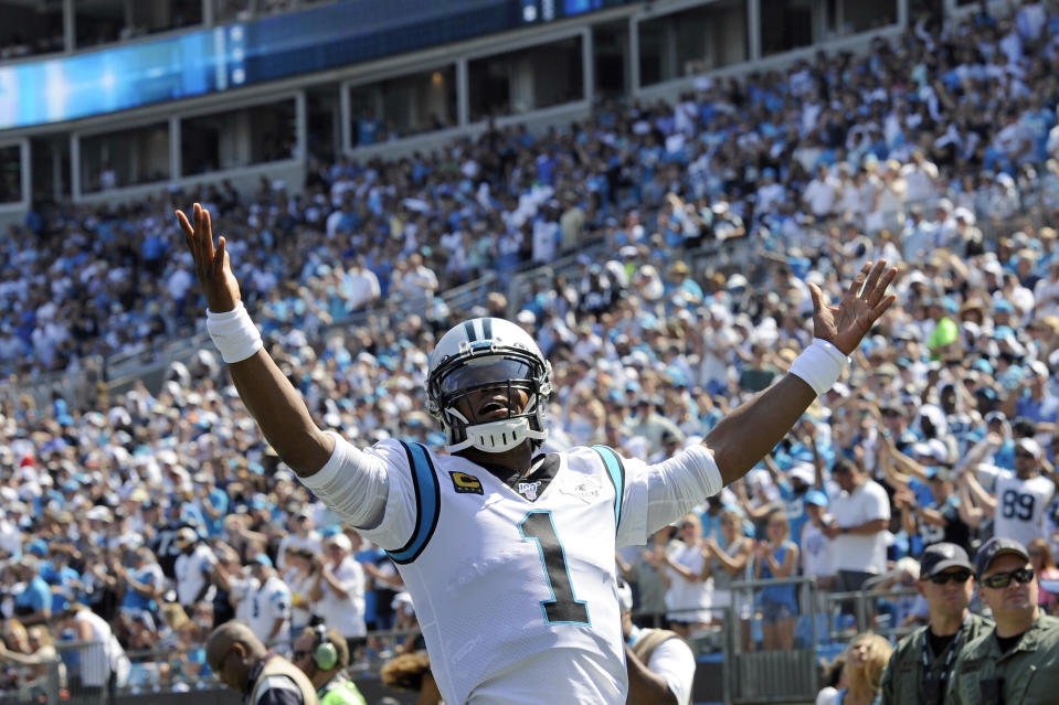 Carolina Panthers quarterback Cam Newton (1) has been given permission to seek a trade. (AP Photo/Mike McCarn)