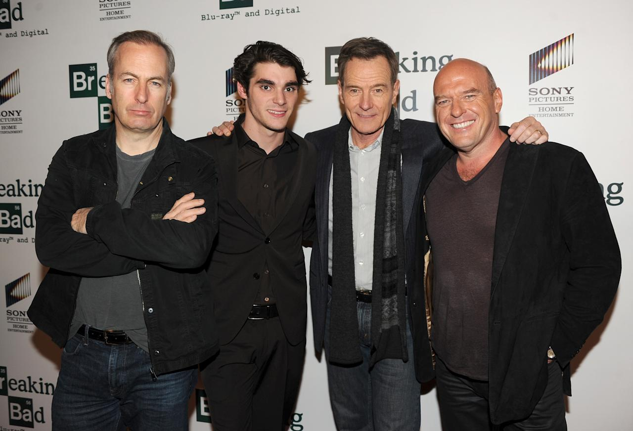 "LOS ANGELES, CA - NOVEMBER 25: Actors Bob Odenkirk, RJ Mitte, Bryan Cranston and Dean Norris arrive at the screening of ""No Half Measures: Creating The Final Season Of Breaking Bad"" DVD Launch at Pacific Theatres at the Grove on November 25, 2013 in Los Angeles, California. (Photo by Kevin Winter/Getty Images)"