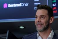 Tomer Weingarten, CEO of SentinelOne, a cybersecurity firm, attends his company's IPO at the NYSE in New York
