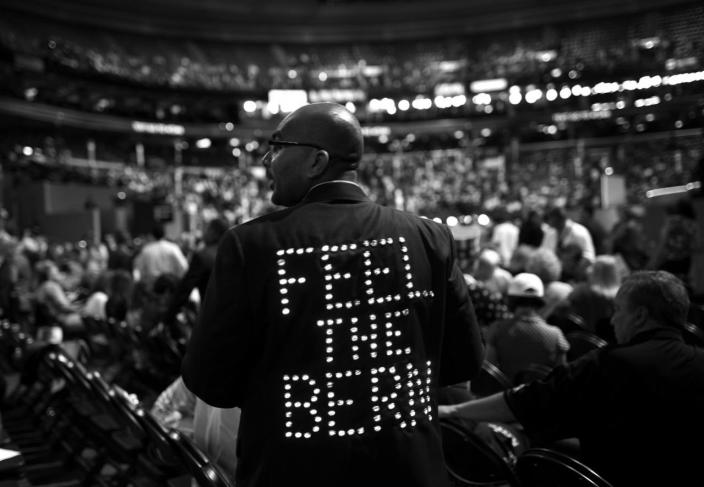 <p>Florida delegate Sanjay Patel shows his support of Bernie Sanders Tuesday, July 26, 2016, in Philadelphia, PA. Patel made the jacket with help from his wife and friend. (Photo: Khue Bui for Yahoo News) </p>