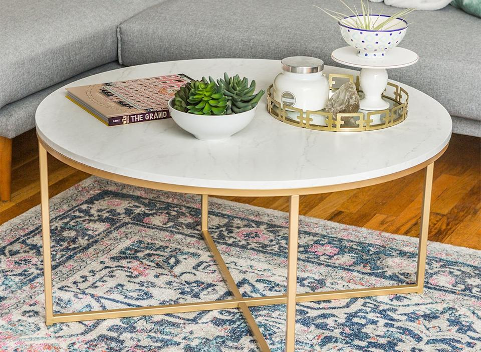 walmart faux marble coffee table with gold legs