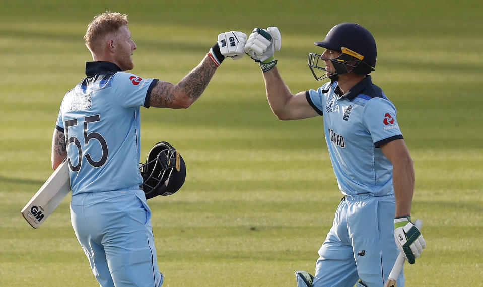 Ben Stokes and Jos Buttler give England 15 runs to defend in the super over (AP Photo/Alastair Grant)