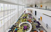 """<p>This 220,000-square-foot angled glass and aluminum <a href=""""https://www.lib.ncsu.edu/huntlibrary"""" rel=""""nofollow noopener"""" target=""""_blank"""" data-ylk=""""slk:library"""" class=""""link rapid-noclick-resp"""">library</a> is the definition of streamlined design. Plus it has vibrant ultra-modern furniture, illuminated by all the natural light that pours into the space. </p>"""