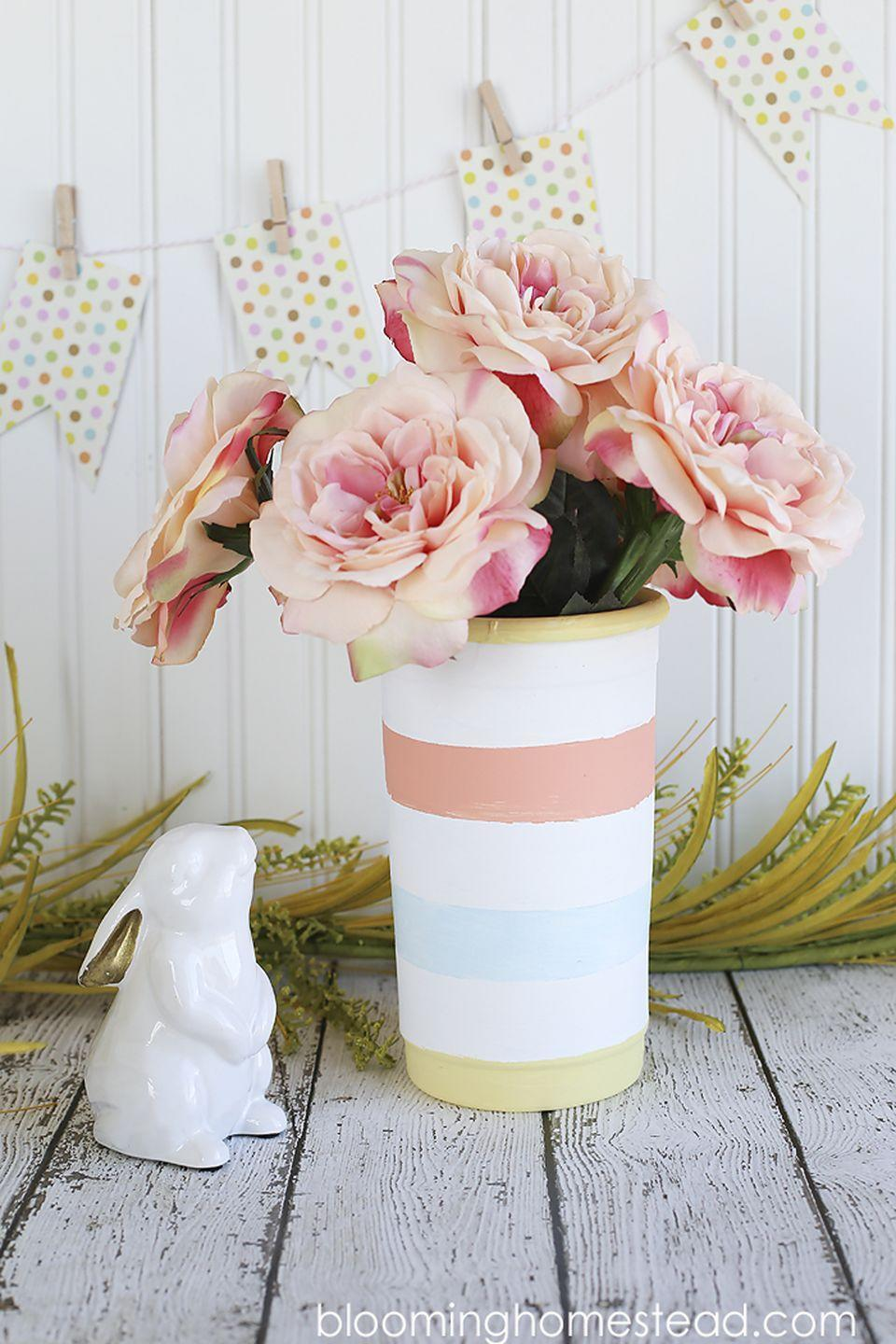 """<p>Kids can apply painter's tape in any design they want to make a pretty painted vase for Mom.</p><p><strong>Get the tutorial at <a href=""""http://www.bloominghomestead.com/2015/05/easy-striped-vase.html"""" rel=""""nofollow noopener"""" target=""""_blank"""" data-ylk=""""slk:Blooming Homestead"""" class=""""link rapid-noclick-resp"""">Blooming Homestead</a>.</strong></p><p><strong>What you'll need: </strong><em>terra cotta pot ($10, <a href=""""https://www.amazon.com/Fiskars-Inch-TerraPot-Planter-Color/dp/B000IF7PN2"""" rel=""""nofollow noopener"""" target=""""_blank"""" data-ylk=""""slk:amazon.com"""" class=""""link rapid-noclick-resp"""">amazon.com</a>); painter's tape ($4, <a href=""""https://www.amazon.com/Intertape-Polymer-Group-PMD24-Designer/dp/B00F36XKCG"""" rel=""""nofollow noopener"""" target=""""_blank"""" data-ylk=""""slk:amazon.com"""" class=""""link rapid-noclick-resp"""">amazon.com</a>)</em></p>"""