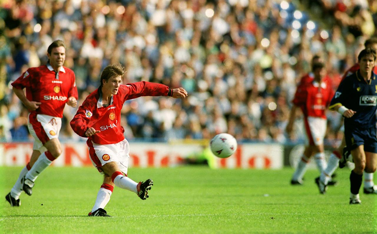 David Beckham scores from the halfway line against Wimbledon - Tony O'Brien (Action Images)