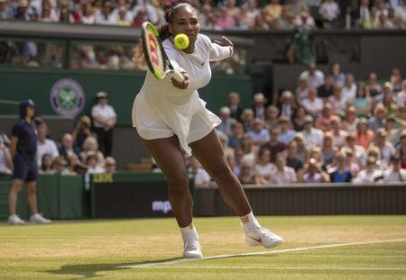 Jul 12, 2018; London, United Kingdom; Serena Williams (USA) in action during her match against Julia Goerges (GER) on day 10 at All England Lawn and Croquet Club. Mandatory Credit: Susan Mullane-USA TODAY Sports