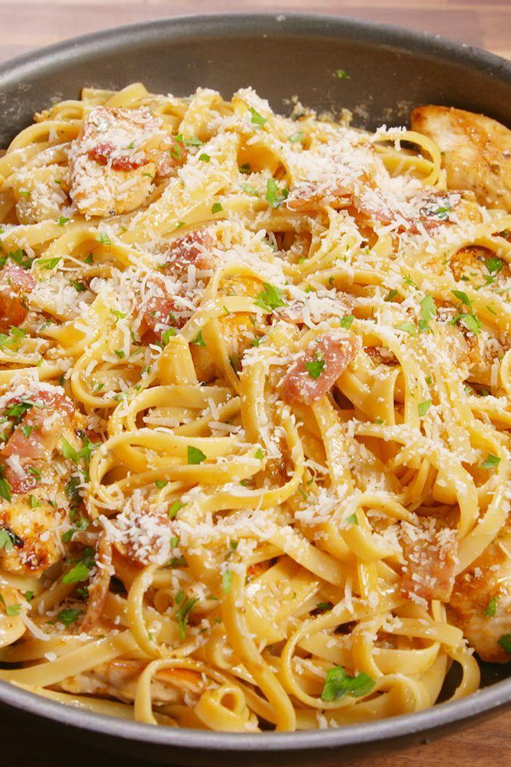 "<p>This creamy pasta is #dinnergoals.</p><p>Get the recipe from <a href=""https://www.delish.com/cooking/recipe-ideas/recipes/a48598/chicken-carbonara-pasta-recipe/"" rel=""nofollow noopener"" target=""_blank"" data-ylk=""slk:Delish"" class=""link rapid-noclick-resp"">Delish</a>.</p>"