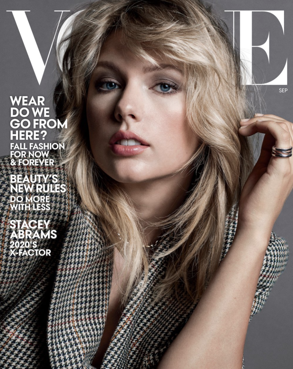 "Taylor Swift opens up about the ""isolating experience"" of being ""canceled"" in Vogue's September 2019 issue. (Photo: Vogue)"