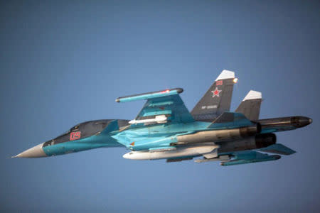 The Russian Air Force (RuAF) new Su-34 Fullback strike aircraft is seen in this October 31, 2014 photo released by the Norwegian Air Force on November 13, 2014. REUTERS/Norwegian Air Force/Handout via Reuters