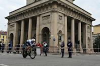 Team Ineos rider Filippo Ganna of Italy won the final time-trial in Milan.