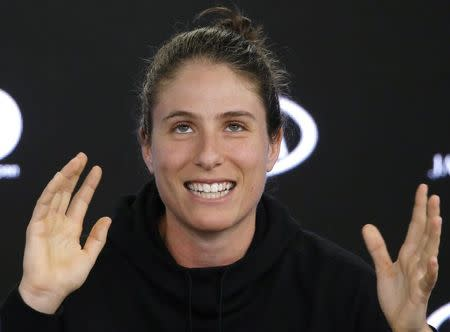 Tennis - Australian Open - Melbourne, Australia, January 13, 2018. Johanna Konta of Britain reacts during a news conference ahead of the Australian Open tennis tournament. REUTERS/Thomas Peter