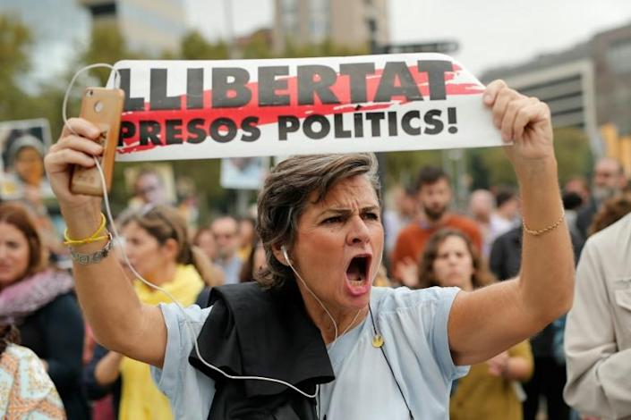 'Free political prisoners!': protesters in the Catalan capital Barcelona took the streets after the sentences were announced (AFP Photo/Pau Barrena)