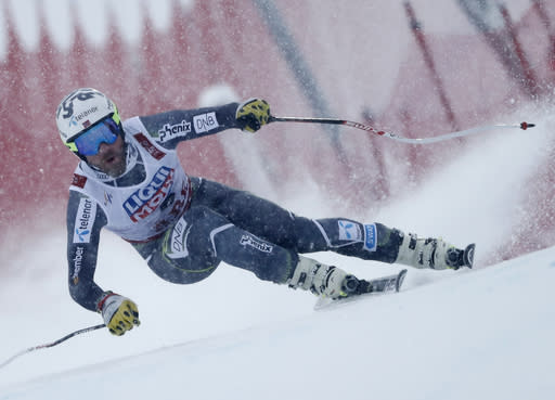 Norway's Kjetil Jansrud speeds down the course during the men's downhill race, at the alpine ski World Championships in Are, Sweden, Saturday, Feb. 9, 2019. (AP Photo/Gabriele Facciotti)