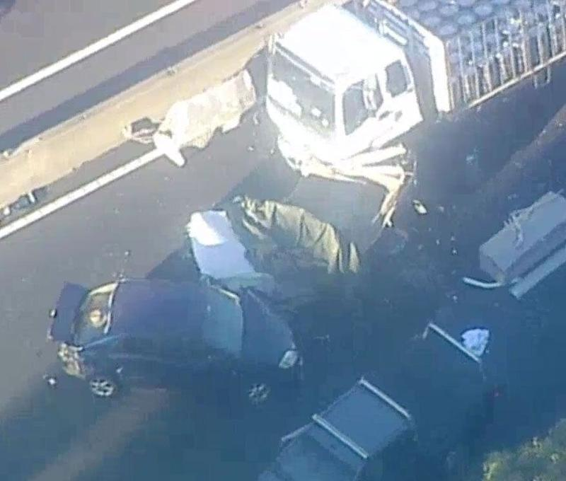 Footage from the scene showed a damaged truck surrounded by smashed up cars and other debris. Source: 7 News