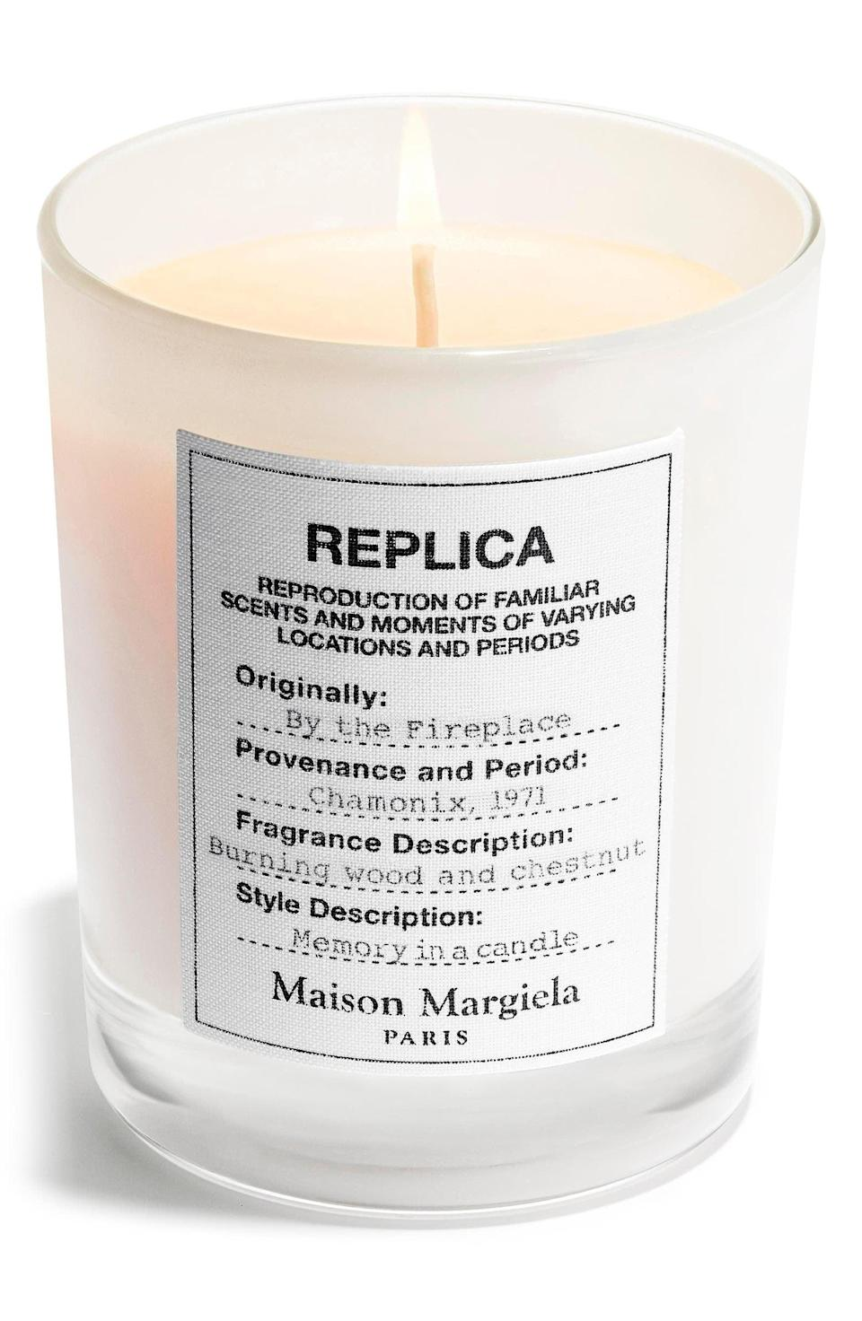 <p>To truly embrace those cozy vibes, set the mood with this luxurious <span>Maison Margiela Replica By the Fireplace Candle</span> ($62). It has notes of pink pepper, orange flower petals, clove oil,chestnut accord, guaiac wood oil, cade oil, vanilla accord, Peru balsam, and cashmeran.</p>