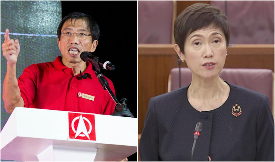 SDP chief Chee Soon Juan (left) and Minister of Manpower and Second Minister of Home Affairs Josephine Teo. (PHOTOS: Yahoo News Singapore, Parliament screengrab)