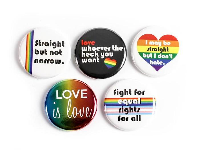 IfAndsOrButtons LGBTQ Pride Pinback Buttons. Image via Etsy.