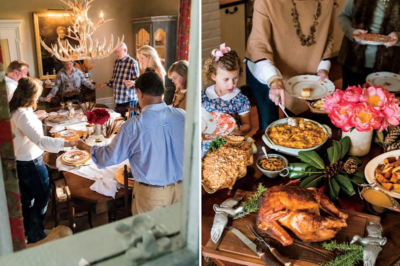 The family says the blessing before filling their plates with old family recipes, including everything from rice consommé to green-tomato pickle. | Peter Frank Edwards; Styling: Dakota Willimon