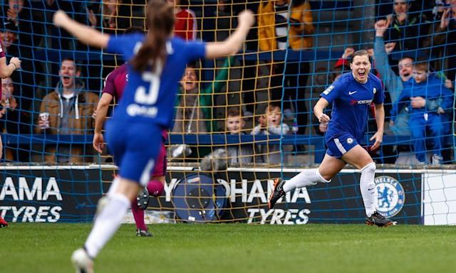 <span>Chelsea's Fran Kirby celebrates.</span> <span>Photograph: Eddie Keogh for FA/REX/Shutterstock</span>