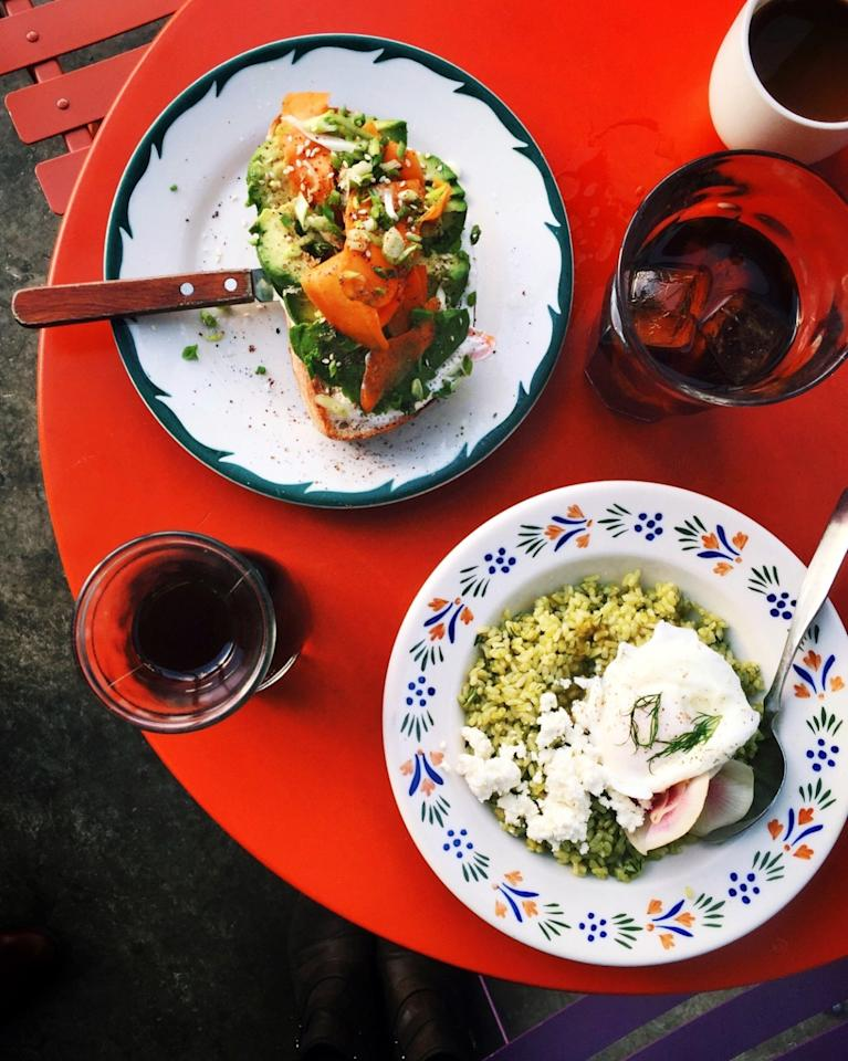"<p>The toast trend is alive and well in SoCal, and no one's doing it better than <a href=""http://sqirlla.com/"">Sqirl</a>. This uber-trendy organic cafe is one of the hippest spots in the city, due to its fresh, bright fare and quintessential Californian vibes which will make you feel, like, <i>sooo</i> L.A. From their signature sorrel pesto rice, which packs an acidic kick that's aided by the feta, poached egg, and radishes that top it, to their famous ricotta toast and avocado toast atop slabs of thick, chewy bread, this would definitely be a spot I'd hit up regularly if I lived in the area. </p><p><i>Photo: Gillie Houston for Yahoo Food</i><br /></p>"