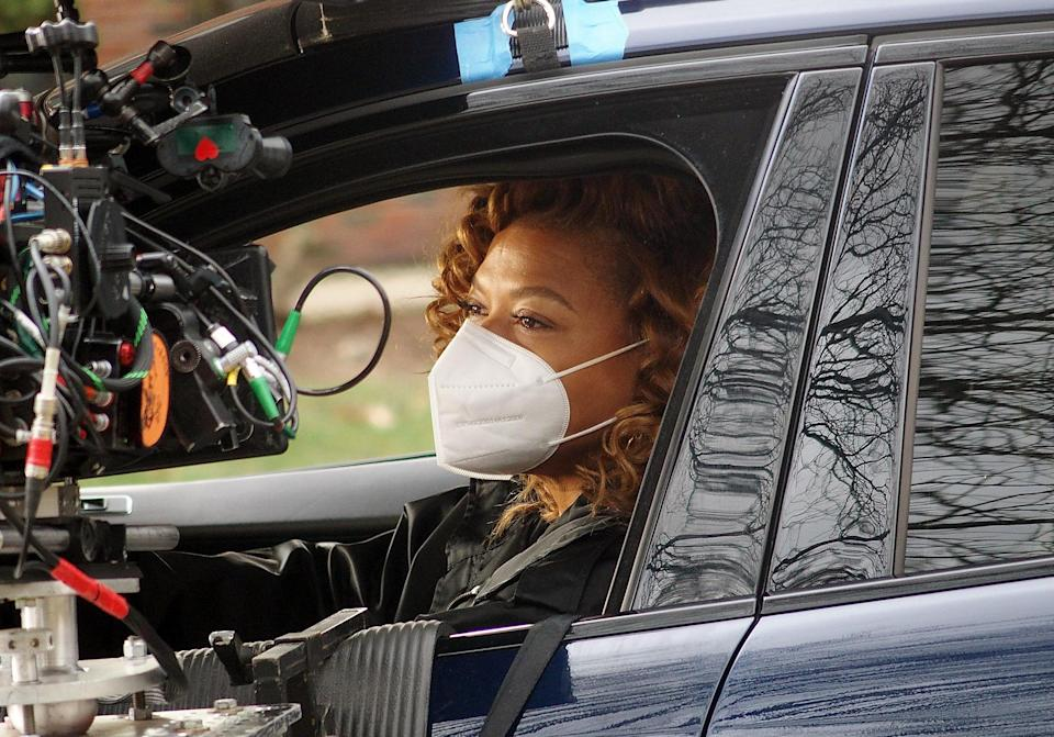 <p>Queen Latifah is camera ready on the set of <em>The Equalizer</em> on Monday in Teaneck, New Jersey.</p>