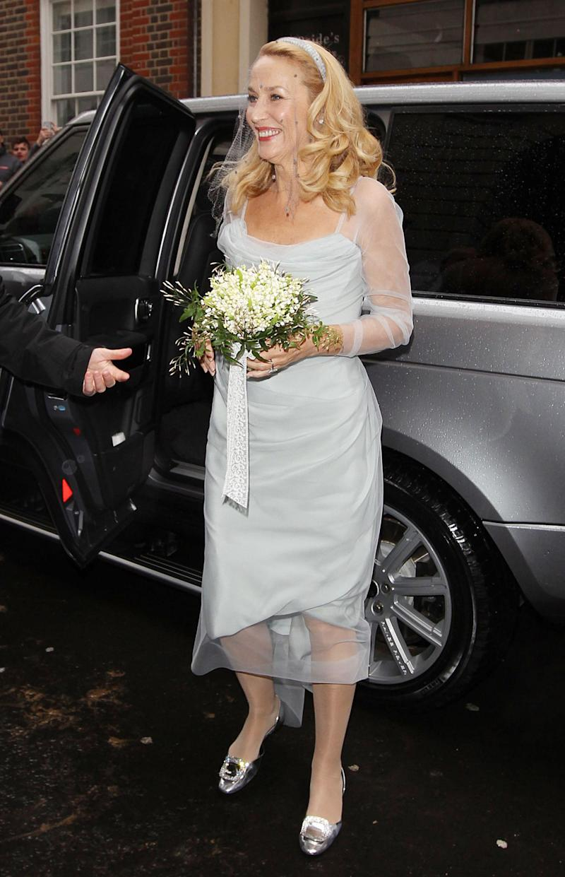 Jerry Hall Wows In Vivienne Westwood Dress For Rupert Murdoch Wedding