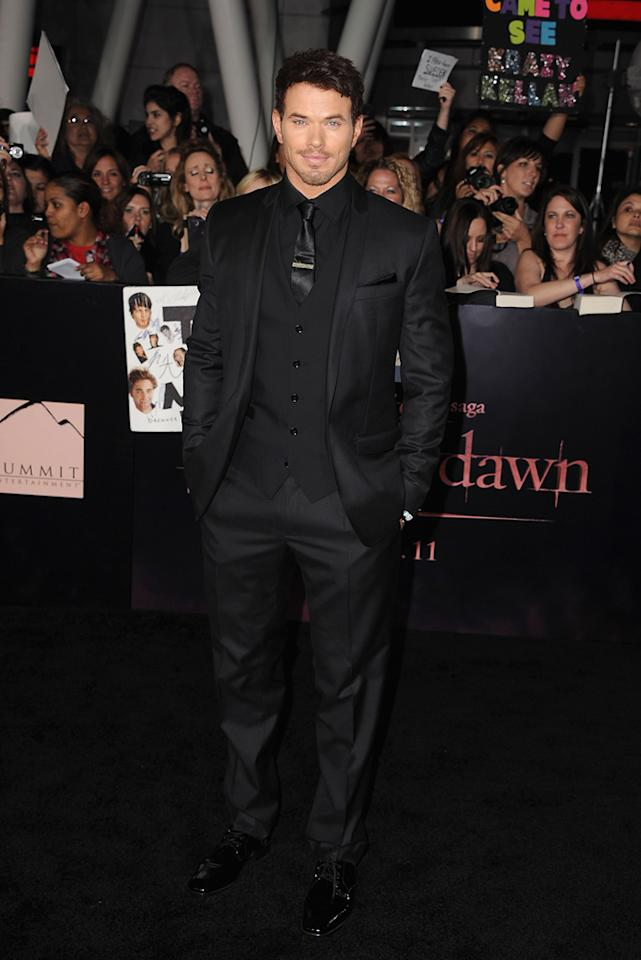 """<a href=""""http://movies.yahoo.com/movie/contributor/1808906080"""">Kellan Lutz</a> at the Los Angeles premiere of <a href=""""http://movies.yahoo.com/movie/1810158314/info"""">The Twilight Saga: Breaking Dawn - Part 1</a> on November 14, 2011."""