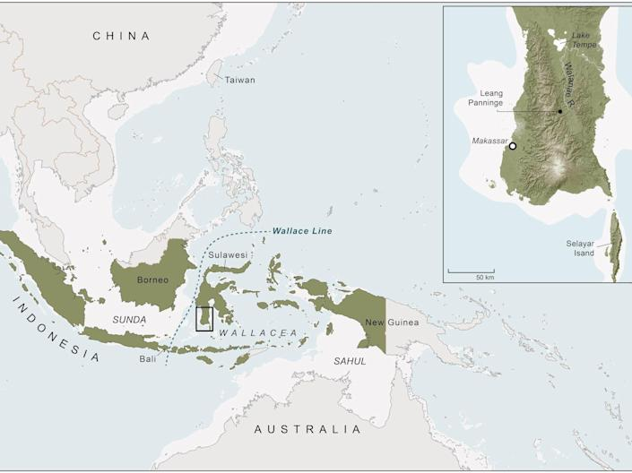 a map of southeast Asia shows the location of the LEANG PANNINGE cave in Indonesia.
