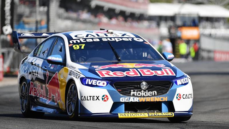Shane van Gisbergen pictured in Supercars action in Adelaide on February 23, 2020