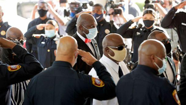 PHOTO: George Floyd's family arrives for Floyd's funeral service at the Fountain of Praise Church on June 9, 2020, in Houston. (Eric Gay/AP)