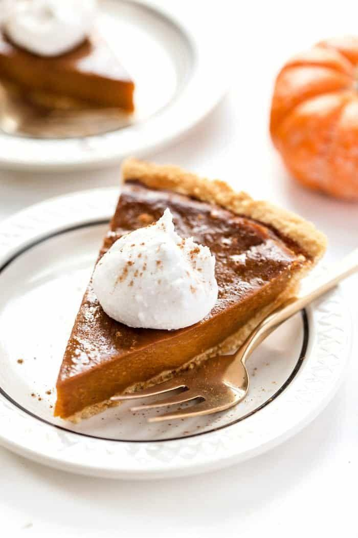 "<p>Nothing says Thanksgiving like a tasty slice of pumpkin pie, and there are so many amazing dairy- and egg-free pie recipes these days. This one tastes just like a bite of autumn. </p><p><em><a href=""https://www.simplyquinoa.com/vegan-pumpkin-pie-with-almond-flour-pie-crust/"" rel=""nofollow noopener"" target=""_blank"" data-ylk=""slk:Get the recipe from Simply Quinoa »"" class=""link rapid-noclick-resp"">Get the recipe from Simply Quinoa »</a></em></p>"
